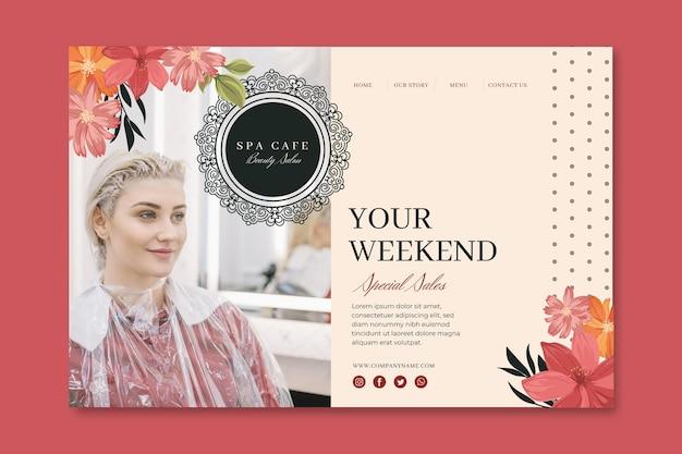 Plantilla de página de destino de salón de belleza y moda