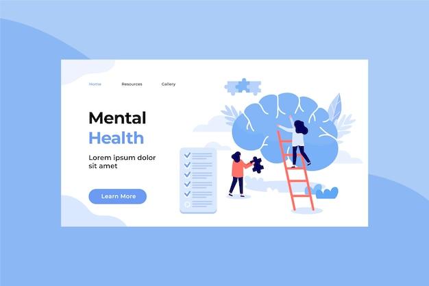 Plantilla de página de destino de salud mental dibujada a mano