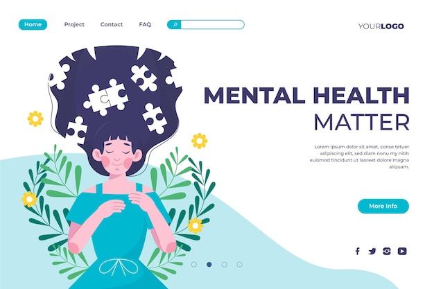 Plantilla de página de destino de salud mental plana