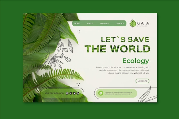 Plantilla de página de destino de save the world environment