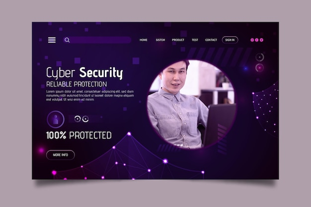 Plantilla de página de destino de seguridad cibernética