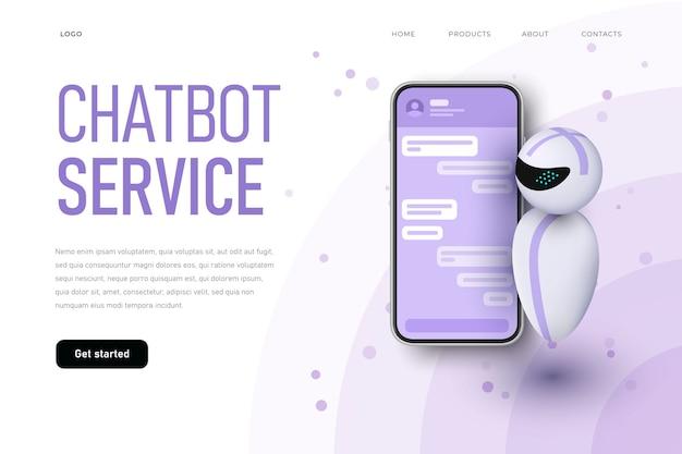 Plantilla de página de destino del servicio chatbot con robot levitando.