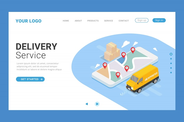 Plantilla de página de destino del servicio de entrega isométrica