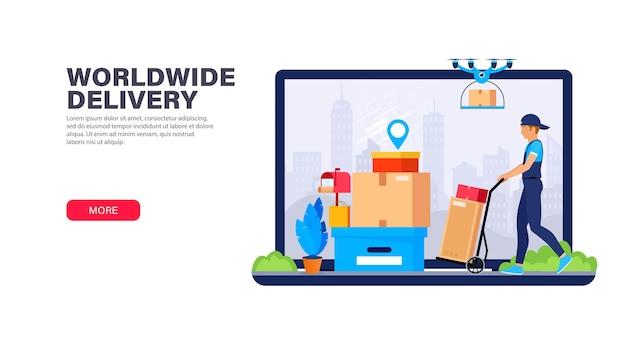 Plantilla de página de destino del servicio de entrega. mensajería y entrega de drones de diferentes tipos de paquetes.