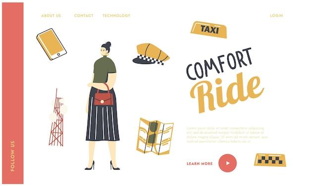 Plantilla de página de destino del servicio de taxi.
