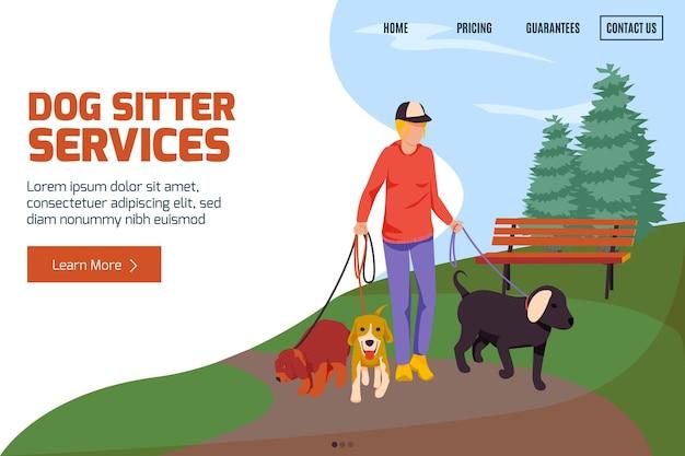 Plantilla de página de destino de servicios de cuidador de perros