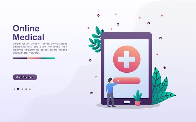 Plantilla de página de destino de servicios médicos en línea