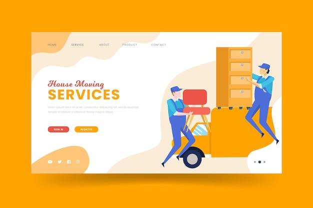 Plantilla de página de destino de servicios de mudanza de casa