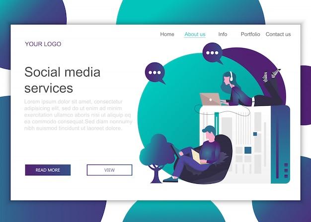 Plantilla de página de destino de servicios de redes sociales.