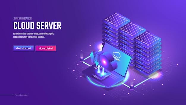 Plantilla de página de destino de servidor en la nube isométrica 3d