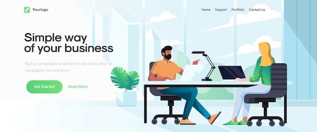 Plantilla de página de destino de simple way of your business