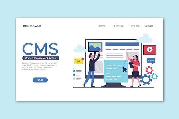 Plantilla de página de destino del sistema de gestión de contenido dibujado