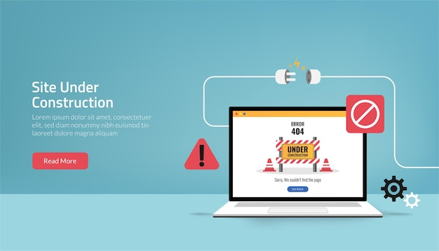 La plantilla de la página de destino del sitio está en concepto de construcción. símbolo de error de mantenimiento