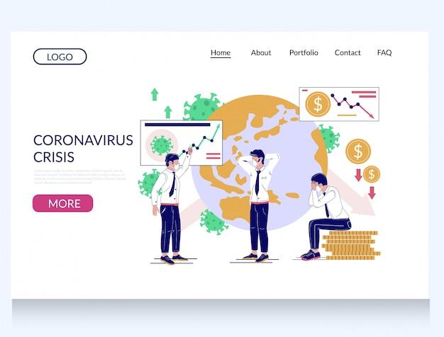 Plantilla de página de destino del sitio web de crisis de coronavirus