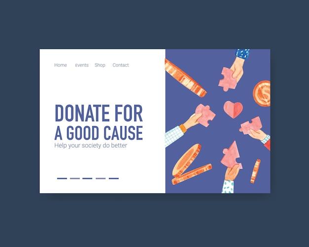 Plantilla de página de destino del sitio web con diseño de concepto del día internacional de la caridad para comunidad en línea y vector de acuarela de internet