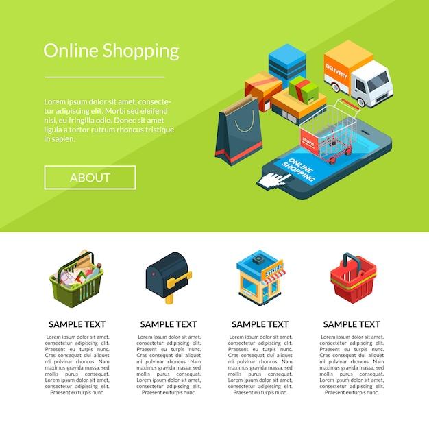 Plantilla de página de destino del sitio web de iconos de compras en línea isométrica