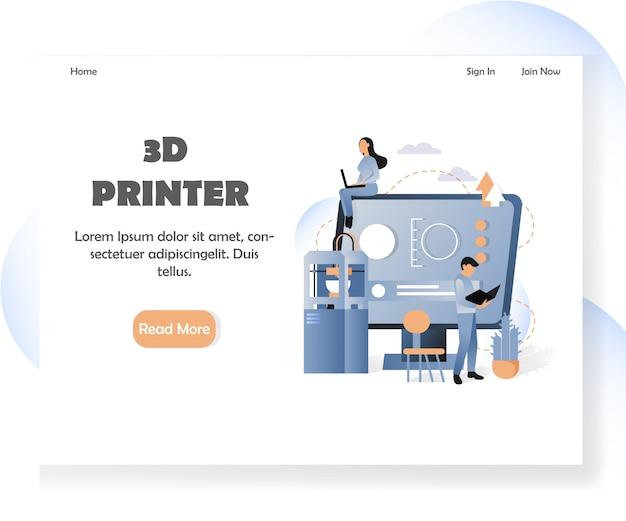 Plantilla de página de destino del sitio web de la impresora 3d