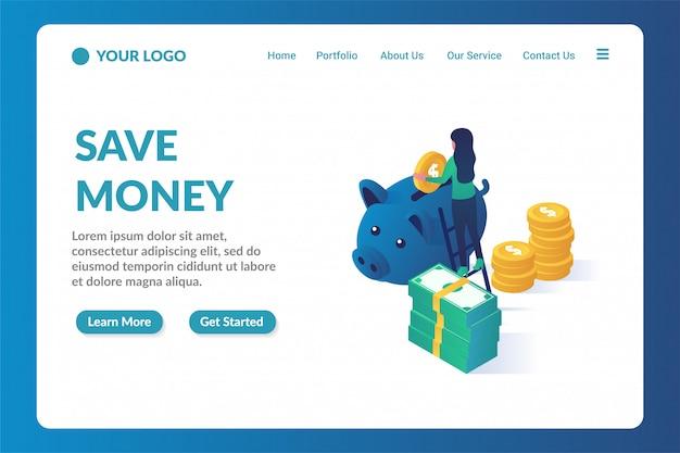 Plantilla de página de destino de sitio web isométrica para ahorrar dinero
