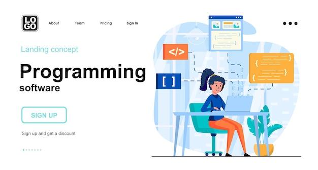Plantilla de página de destino de software de programación