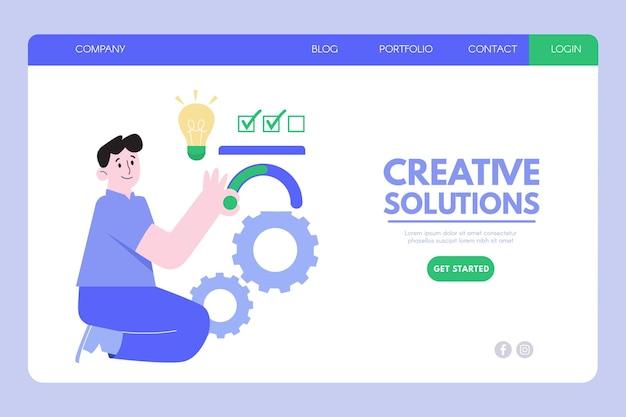 Plantilla de página de destino de soluciones creativas de diseño plano