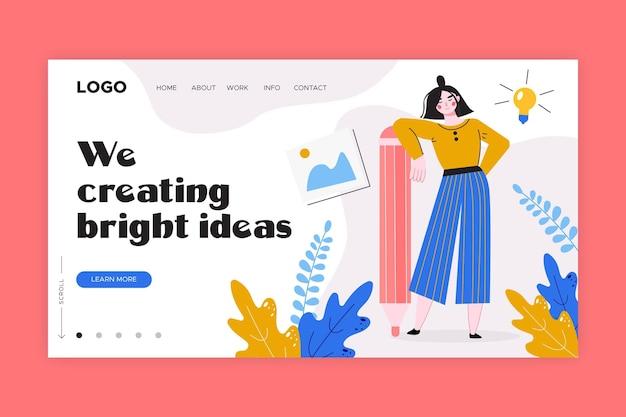 Plantilla de página de destino de soluciones creativas planas