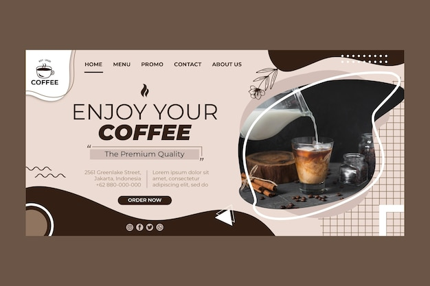 Plantilla de página de destino de taza de café