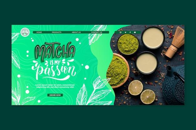 Plantilla de página de destino de té matcha