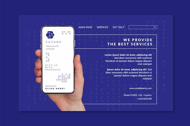 Plantilla de página de destino de tecnología móvil