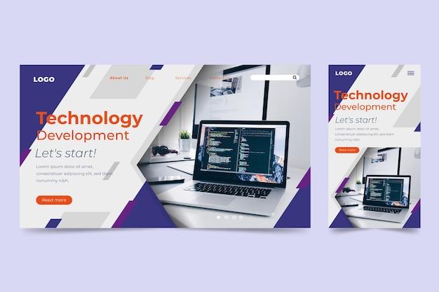 Plantilla de página de destino de tecnología