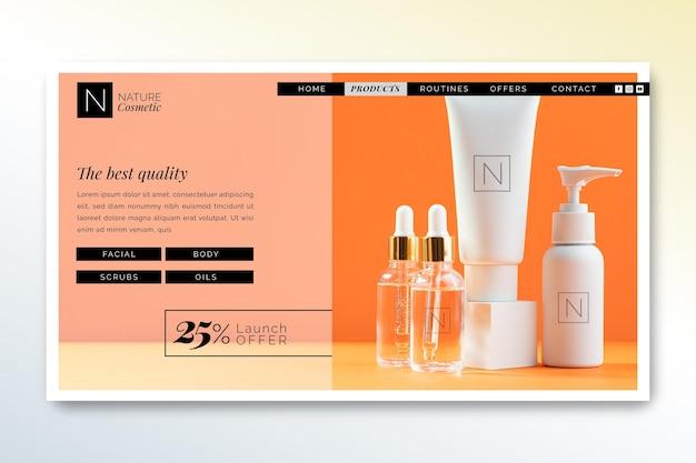 Plantilla de página de destino de tienda de cosméticos