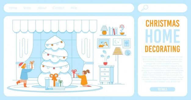 Plantilla de página de destino para tienda que ofrece decoración de navidad