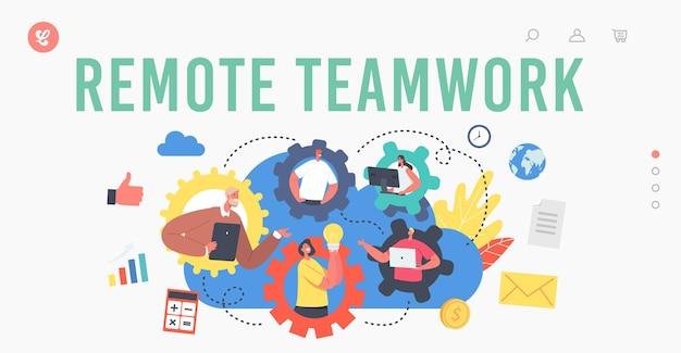Plantilla de página de destino de trabajo en equipo remoto. conferencia grupal de webcam con compañeros de trabajo. personajes de negocios, empleados de oficina hablan por videollamada con colegas en línea. ilustración de vector de gente de dibujos animados