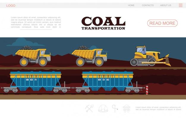 Plantilla de página de destino de transporte de carbón plano con camiones volquete y vagones de excavadora
