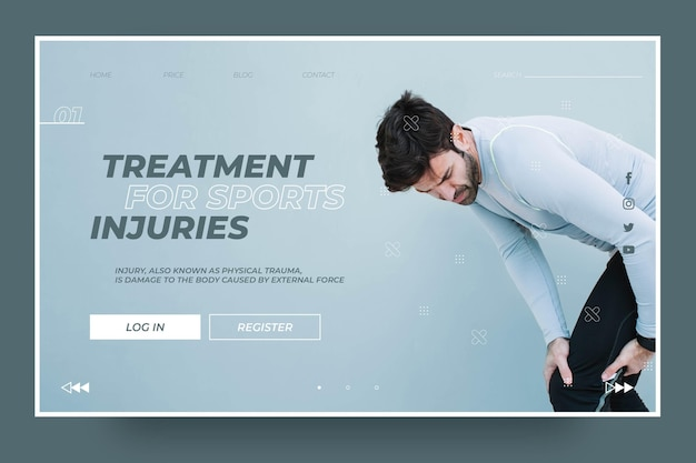 Plantilla de página de destino de tratamiento para lesiones deportivas