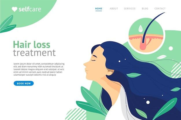 Plantilla de página de destino de tratamiento de pérdida de cabello dibujada a mano plana