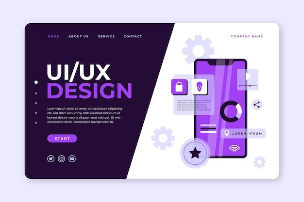 Plantilla de página de destino de ui ux de diseño plano