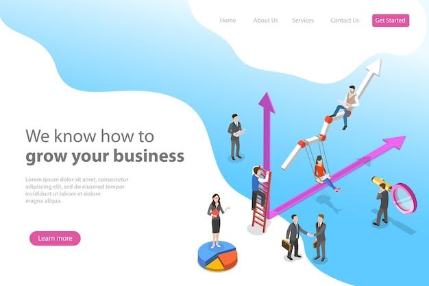 Plantilla de página de destino de vector plano isométrico para el crecimiento empresarial, aumentando la eficiencia, las ganancias.