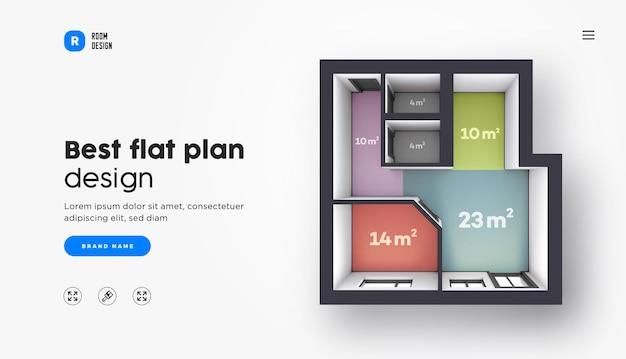 Plantilla de página de destino de vector con plano de planta de color interior arquitectónico