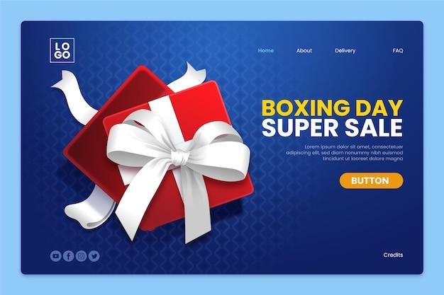 Plantilla de página de destino de venta de boxing day realista