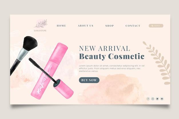 Plantilla de página de destino de venta de cosméticos