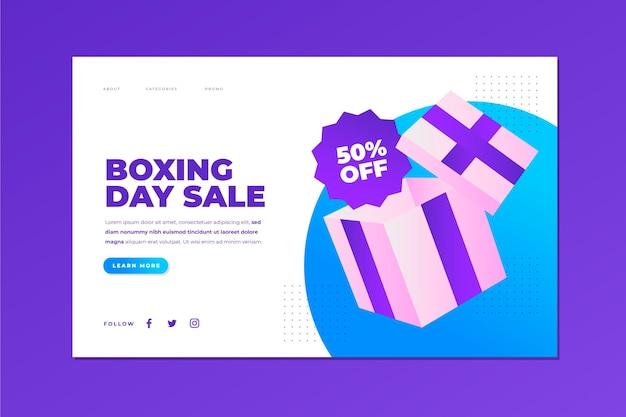 Plantilla de página de destino de venta de día de boxeo degradado