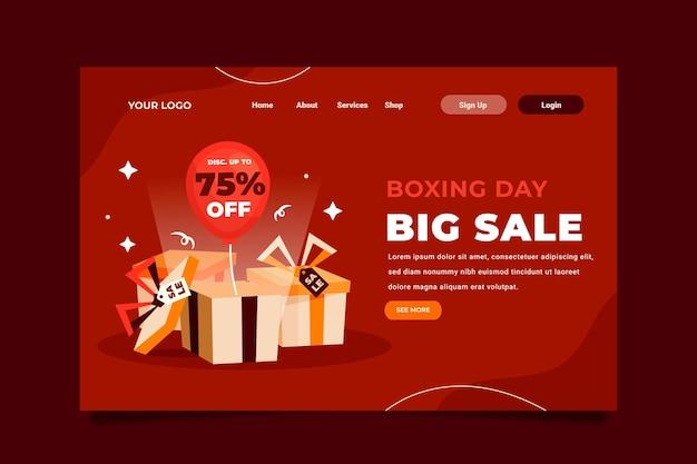 Plantilla de página de destino de venta de día de boxeo plana