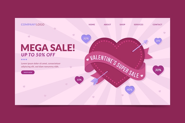 Plantilla de página de destino de venta del día de san valentín
