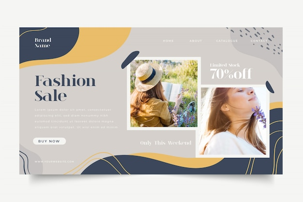 Plantilla de página de destino de venta de moda con imagen