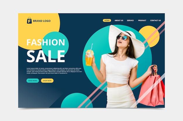 Plantilla de página de destino de venta de moda