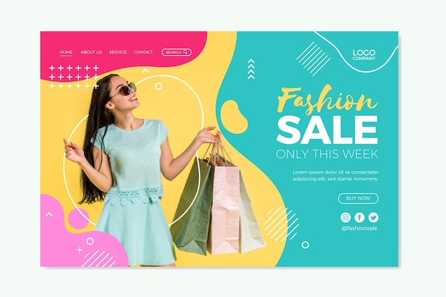 Plantilla de página de destino de venta de modas