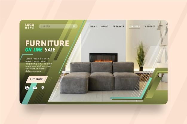 Plantilla de página de destino de venta de muebles degradados con foto