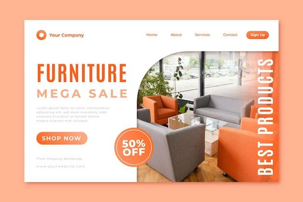 Plantilla de página de destino de venta de muebles degradados