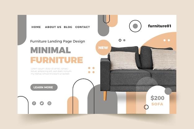 Plantilla de página de destino de venta de muebles planos con foto