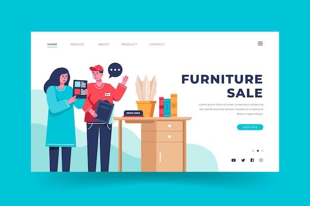 Plantilla de página de destino de venta de muebles planos orgánicos